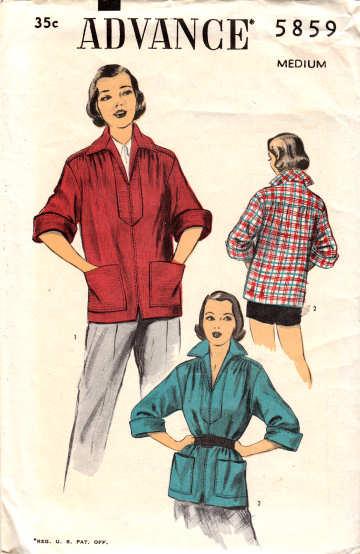 vintage sewing pattern, Advance 5859, 1950s