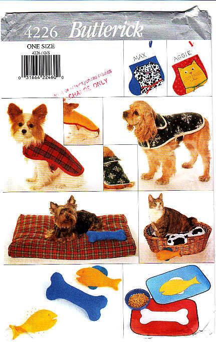 Butterick 4226 Pet Accessories Pattern Coat Clothes Socks Placemat Bed