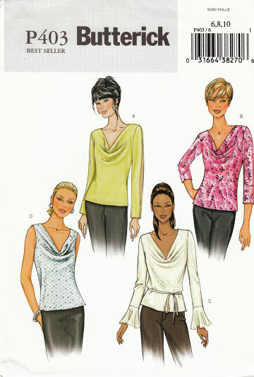 Butterick P403 Cowl Neck Top, Blouse Sewing Pattern 6-10 B30-32
