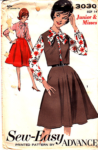 Vintage Sewing Pattern, Advance 3030, 1960s, Blouse