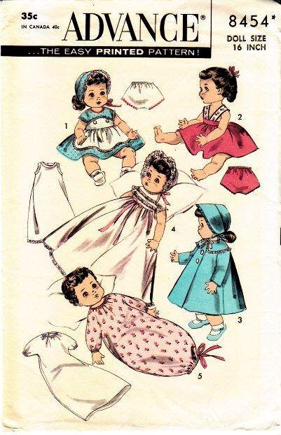 Vintage Sewing Pattern, Advance 8454, Betsy Wetsy, Doll Clothing