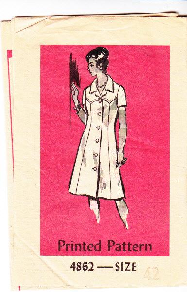 Anne Adams 4862 Western Yoke Dress Sewing Pattern 70s 42 B46 Wou