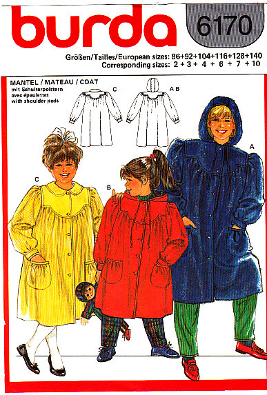 Sewing Pattern, Child's Coat, Burda 6170
