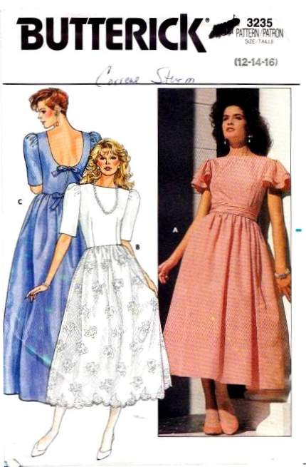 Butterick 3235 Prom, Dress, Wedding, Bridesmaid, vintage, 80s, Sewing Pattern