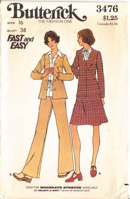 Butterick 3476, vintage, sewing, pattern, Jacket Skirt Pants