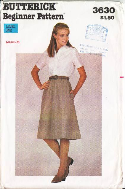 Butterick 3630 skirt, vintage, 70s, Sewing Pattern