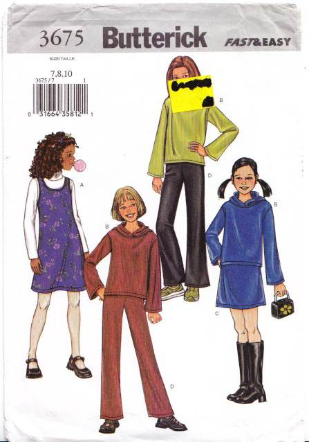 Butterick 3675, Girls Dress, skirt, pants, sewing pattern