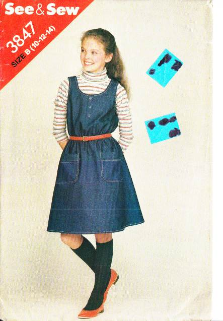 Vintage 70s Girls Jumper Dress Sewing Pattern