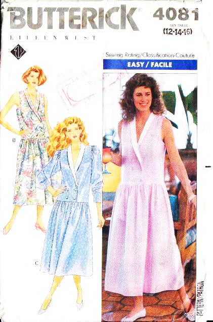 Butterick 4081, Drop-waist, dress, Sewing Pattern