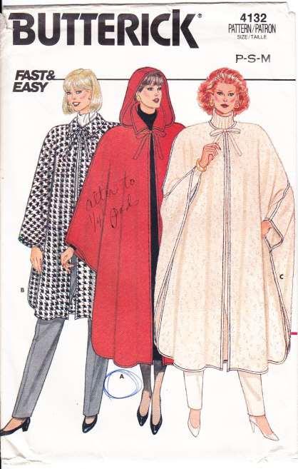 Butterick 7132 sewing Pattern cloak cape