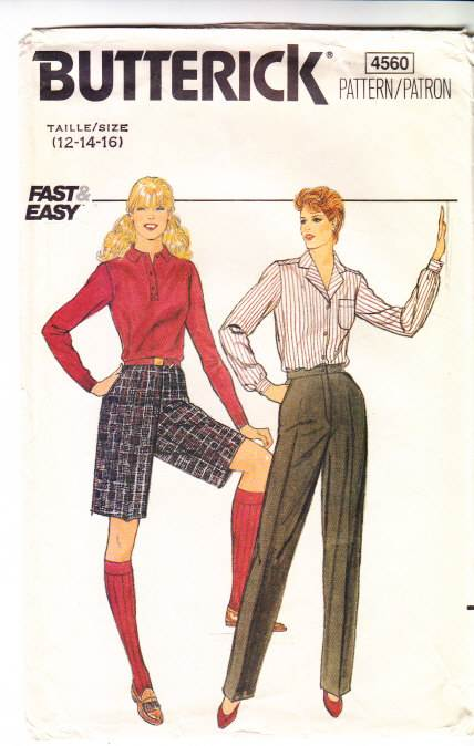 Butterick 4560 vintage, 80s, Pants, Sewing Pattern