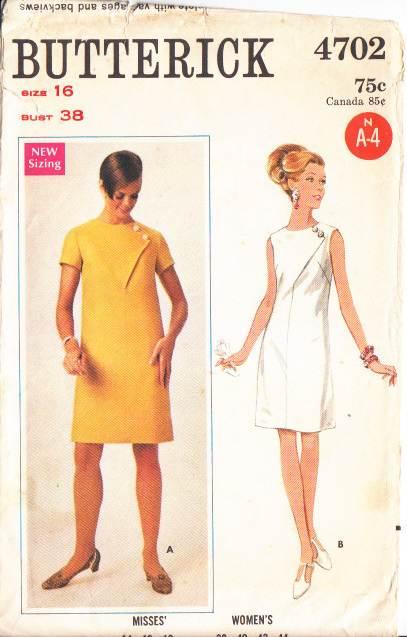 Butterick 4702, Mod, Dress, Sewing Pattern, Vintage