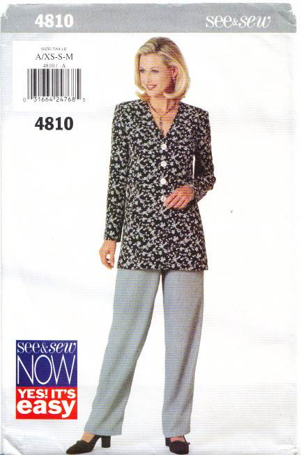 Butterick 4810, Top, Pants, Sewing Pattern