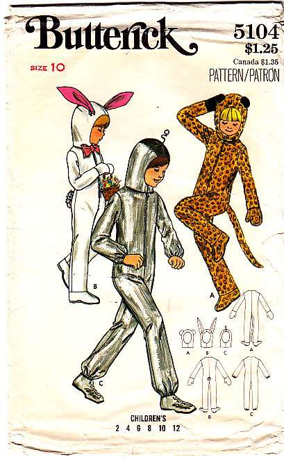 Vintage 70s costume sewing pattern