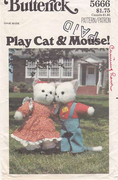 stuffed animal toy cat mouse sewing butterick 5666 Pattern