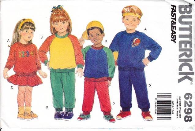 Butterick 6298, Childs Top, Skirt, Pants, Sewing Pattern