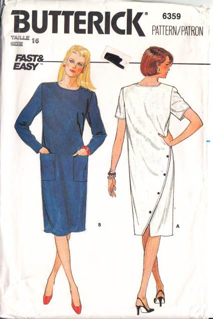 Butterick 6359 80s Asymmetrical Back Chemise Dress Sewing Patte