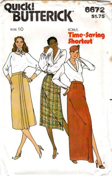 Butterick 6672 Straight Side Wrap Skirt Sewing Pattern 10 Waist