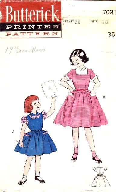 Butterick 7095 1950s Girls Dress Sewing Pattern