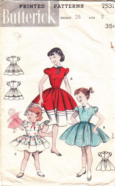 Butterick 7531 Sewing Pattern Girls Dress