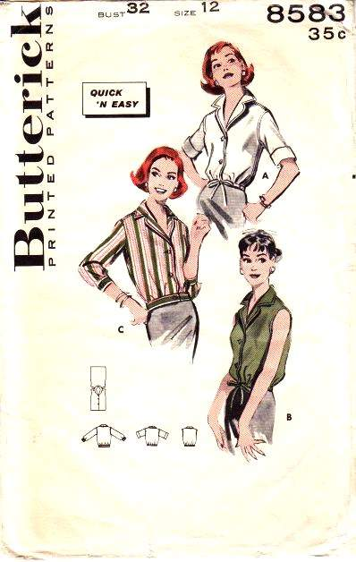 Butterick 8583 1950s blouse sewing pattern