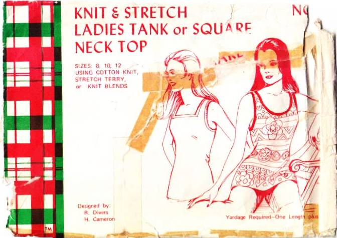 vintage sewing pattern tank top 70s