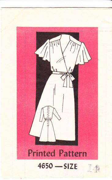 Vintage Mail Order Flutter Sleeve Dress 4650 Sewing Pattern