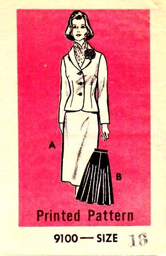 Marian Martin, Fitted Jacket, Flared Skirt, Vintage Sewing pattern