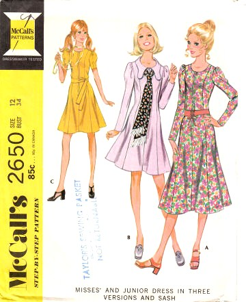 McCalls 2650 vintage 70s Princess seam Dress