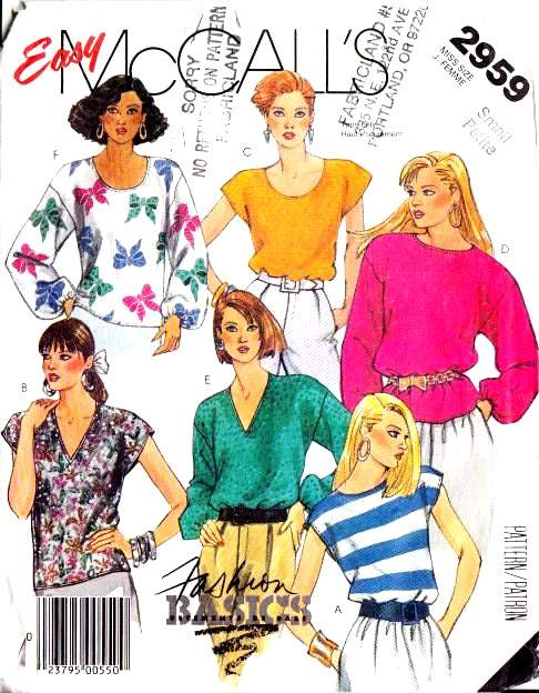 vintage sewing pattern, 80s, Tops, Blouse, Shirt