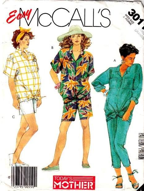 McCalls 3011 Maternity shirt shorts pants sewing Pattern