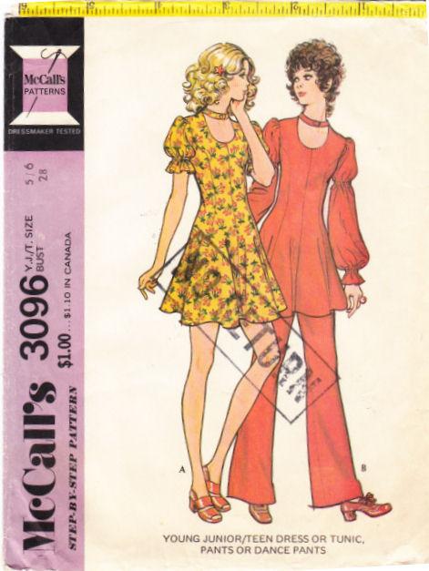 McCalls 3096 70s Puff Sleeve Mini Dress, Tunic Top, Pants &