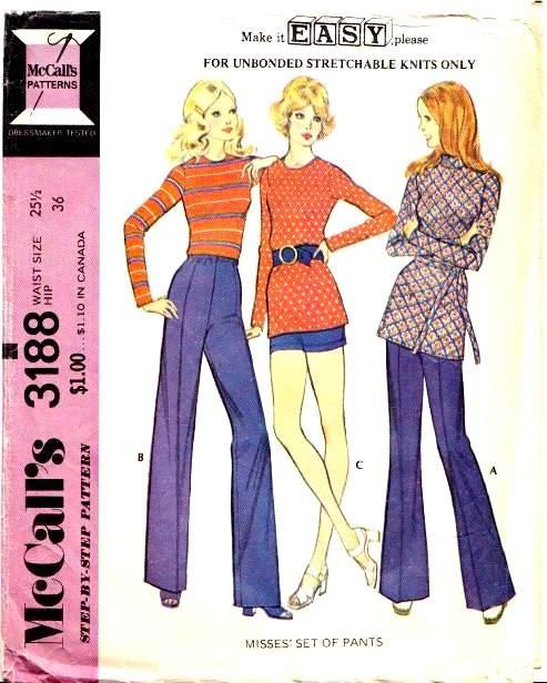 McCalls 3188 70s Pants Sewing Pattern