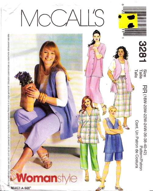 McCalls 3281, Sewing, Pattern, Plus Size, Top, Skirt, Pants, Shorts