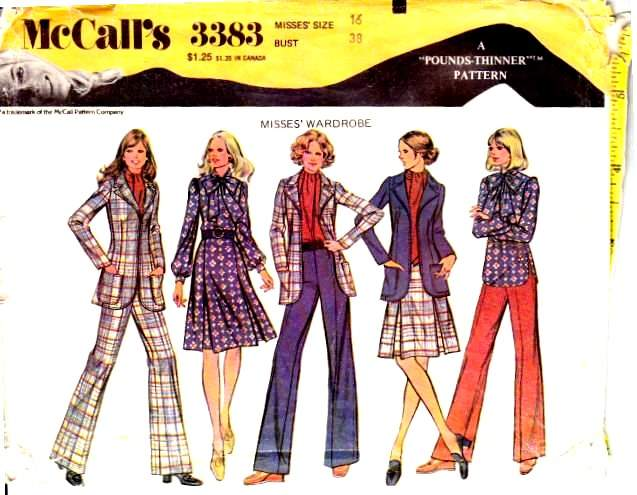 Vintage sewing pattern Mccalls 3383 pants, blouse, jacket skirt 70s