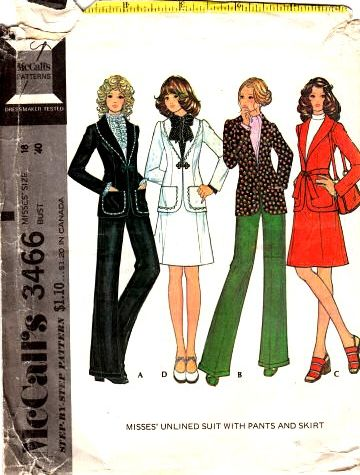 vintage 70s jacket sewing patternMcCalls 3466