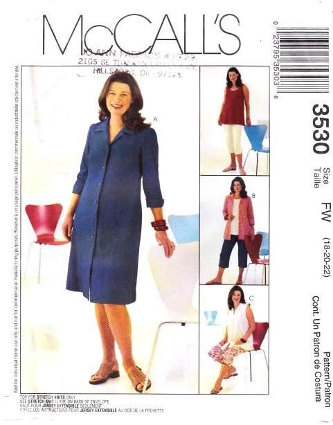 McCalls 3530 Maternity Dress Sewing Pattern