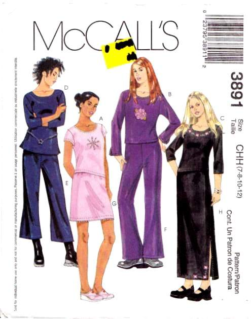 McCalls 3891, Top, Pants, Skirt Sewing Pattern