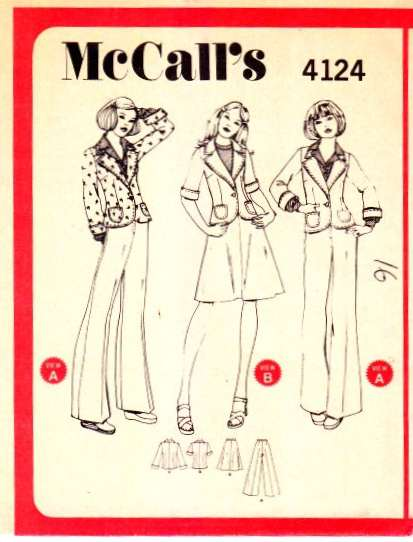 Vintage sewing pattern Mccalls 4124 pants, jacket skirt 70s