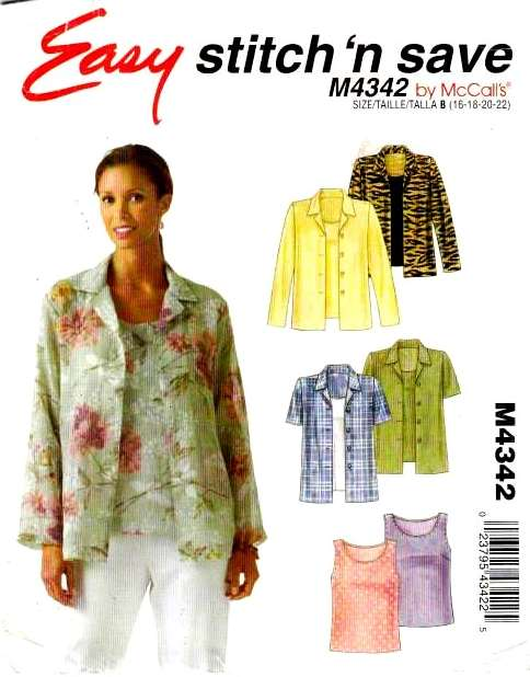 McCalls 4342, Sewing, Pattern, Plus Size, Shirt, Tank Top
