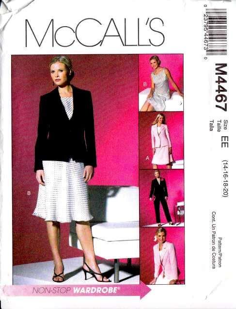 McCalls 4467, Sewing, Pattern, Plus Size, Top, Jacket, Bias Skirt, Pants
