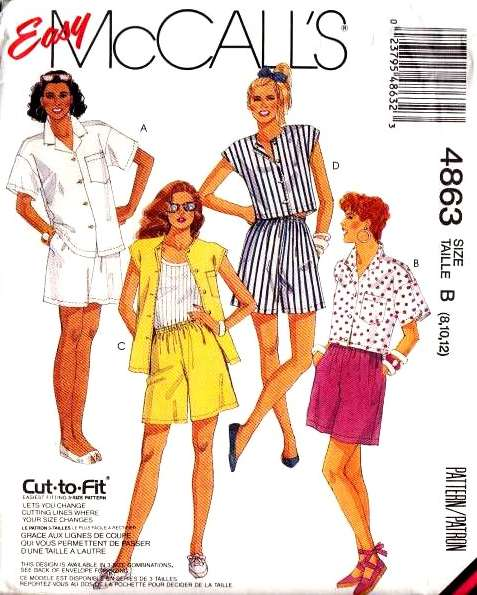 McCalls 4863, Shirt, Shorts, Sewing Pattern