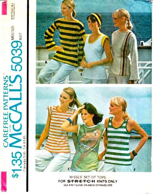 McCalls 5039, Sewing, Pattern, 70s knit tops