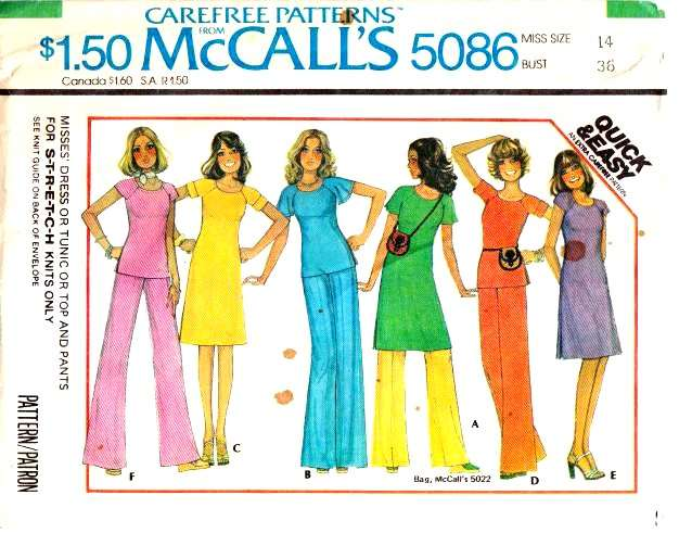 McCalls 5086, Sewing Pattern, Top, Tunic, Pants, Dress, 70s