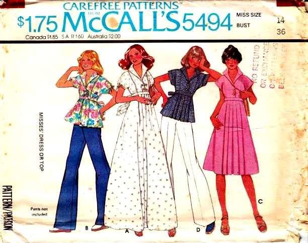 McCalls 5494, Sewing Pattern, Maxi Dress, Top