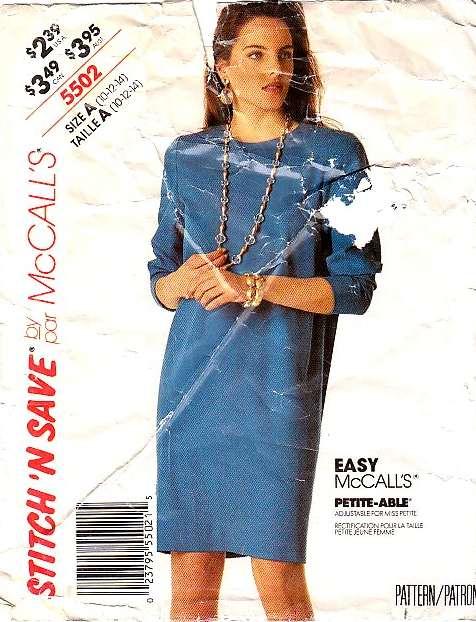 Mccalls 5502 Long Sleeve Chemise Dress Sewing Pattern 10 14 B32