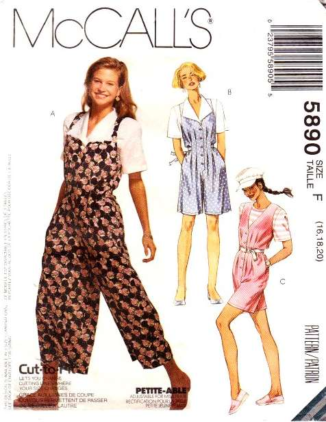 McCalls 5890 Jumpsuit, Romper, Split Skirt Jumper Sewing Pattern