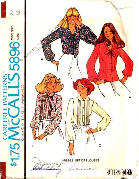 McCalls 5896, Sewing, Pattern, Pussy Cat Bow, Shirt, Blouse 70s