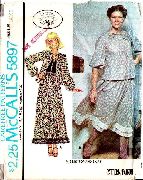 McCalls 5897, Sewing Pattern, Laura Ashley, Peasant Top, Skirt