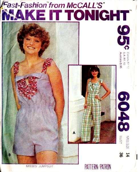 McCalls 6048 70s Jumpsuit, Romper, Playsuit Sewing Pattern 14 B3